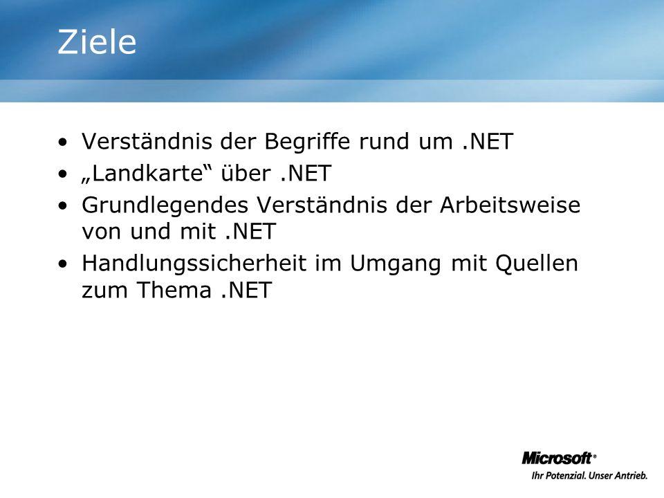 Ziele Verständnis der Begriffe rund um.NET Landkarte über.NET Grundlegendes Verständnis der Arbeitsweise von und mit.NET Handlungssicherheit im Umgang