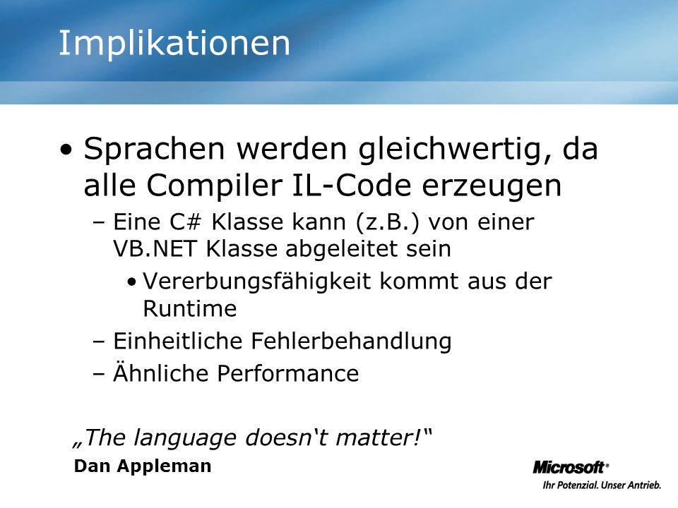 Implikationen Sprachen werden gleichwertig, da alle Compiler IL-Code erzeugen –Eine C# Klasse kann (z.B.) von einer VB.NET Klasse abgeleitet sein Vere