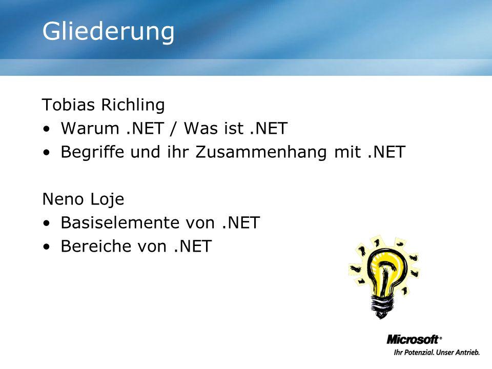 Code wird kompiliert IL-Code wird vor der Ausführung immer (!) durch Compiler in echten Maschinencode übersetzt –Unabhängigkeit von Hardwareplattformen –Unter Windows CE bereits mit einem IL-Vorläufer im Einsatz