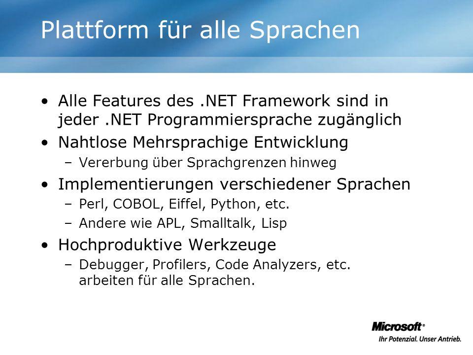 Plattform für alle Sprachen Alle Features des.NET Framework sind in jeder.NET Programmiersprache zugänglich Nahtlose Mehrsprachige Entwicklung –Vererb