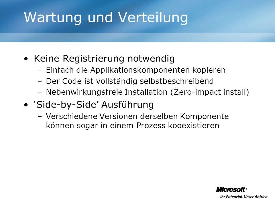 Wartung und Verteilung Keine Registrierung notwendig –Einfach die Applikationskomponenten kopieren –Der Code ist vollständig selbstbeschreibend –Neben
