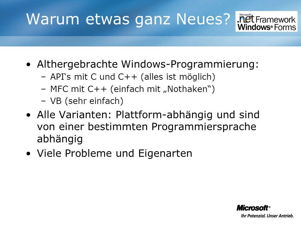 Warum etwas ganz Neues? Althergebrachte Windows-Programmierung: –APIs mit C und C++ (alles ist möglich) –MFC mit C++ (einfach mit Nothaken) –VB (sehr