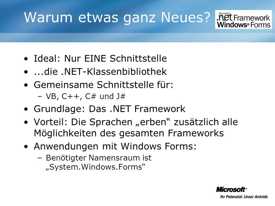 Warum etwas ganz Neues? Ideal: Nur EINE Schnittstelle...die.NET-Klassenbibliothek Gemeinsame Schnittstelle für: –VB, C++, C# und J# Grundlage: Das.NET