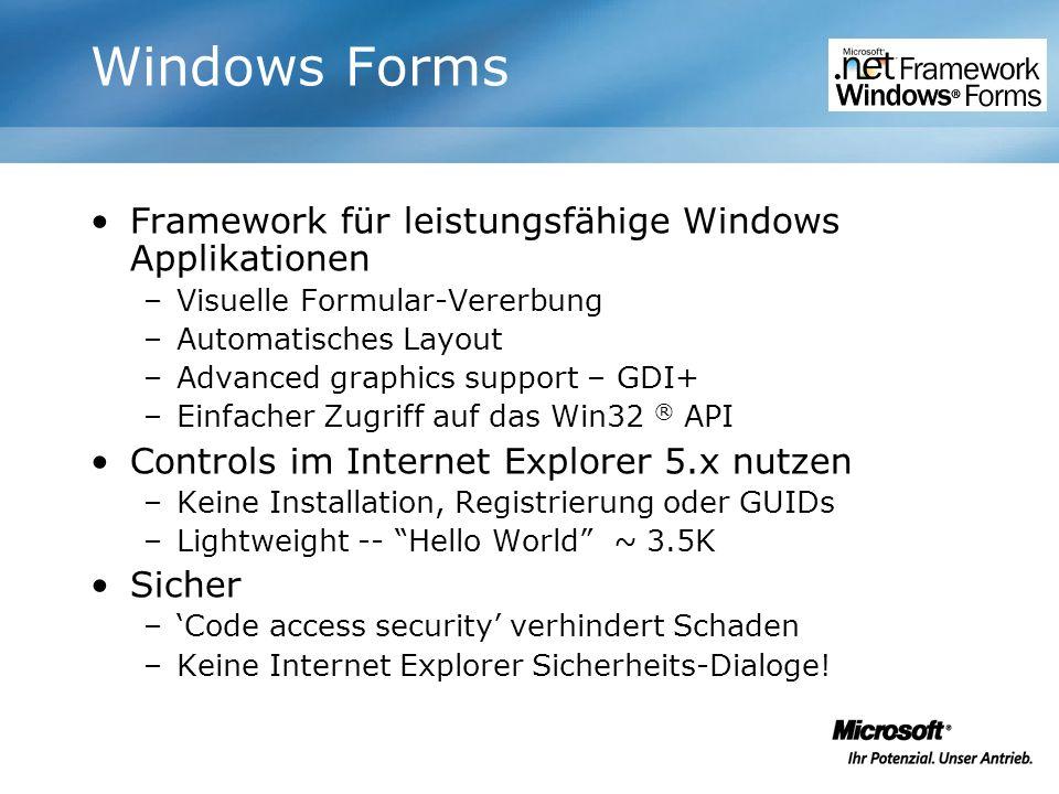 Windows Forms Framework für leistungsfähige Windows Applikationen –Visuelle Formular-Vererbung –Automatisches Layout –Advanced graphics support – GDI+