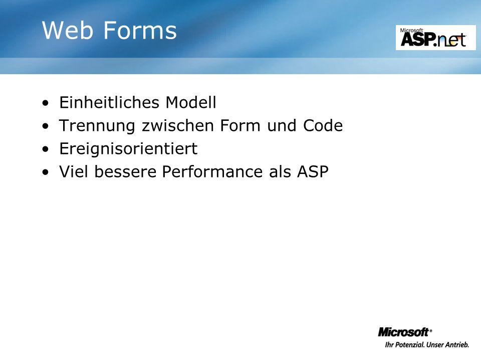 Web Forms Einheitliches Modell Trennung zwischen Form und Code Ereignisorientiert Viel bessere Performance als ASP