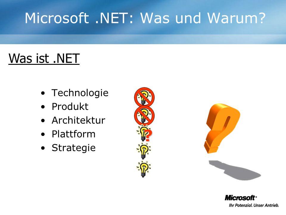 Technologie Produkt Architektur Plattform Strategie Was ist.NET ?