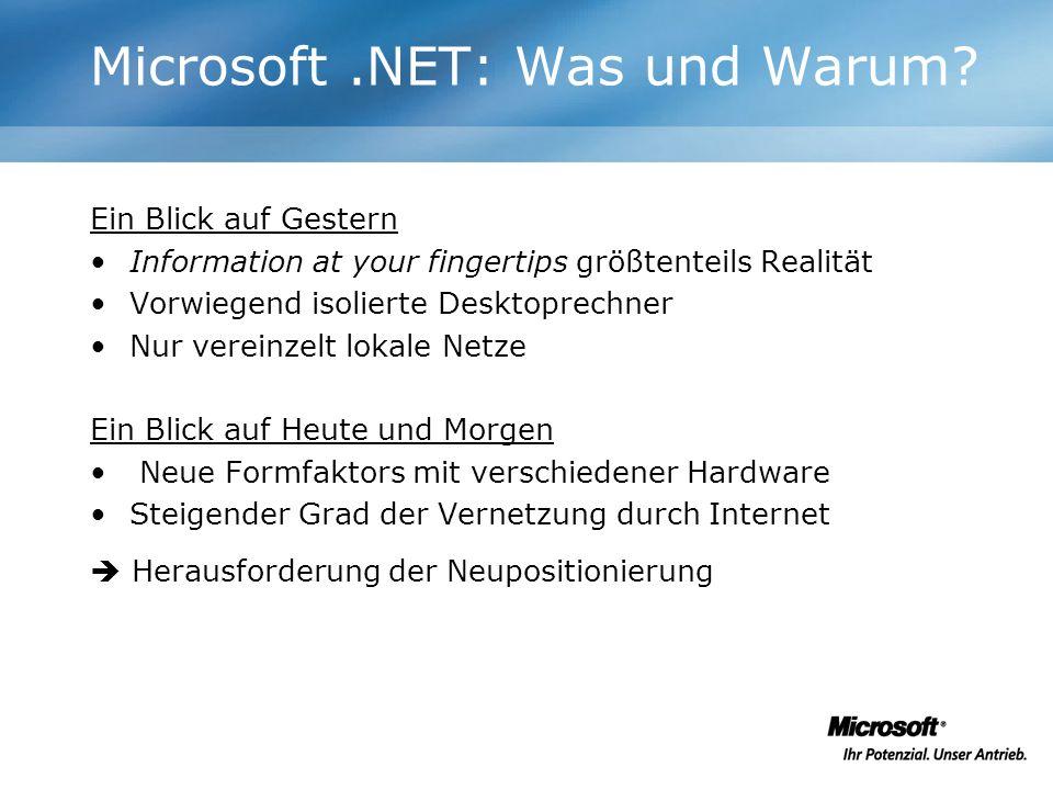 Probleme mit den eigenen Technologien Schwieriges Deployment Viele historisch gewachsene Techniken Integration der Techniken schwierig Web Anwendungen sind schwer zu entwickeln Plattformunabhängigkeit nicht herstellbar Microsoft.NET: Was und Warum?