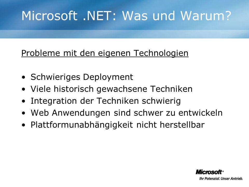Probleme mit den eigenen Technologien Schwieriges Deployment Viele historisch gewachsene Techniken Integration der Techniken schwierig Web Anwendungen