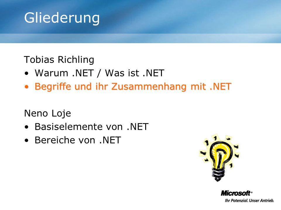 Der Ordnungsrahmen MONODOT-GNU CLR, CTS BCL, XML Visual Studio.NET ADO.NET, DataSet, SQL Windows-ApplikationASP.NET Windows Forms Web Forms WebServicesWSDLUDDISOAP CLS VBC++C#JScriptJ# MSIL, Assembly, Managed Code, JIT Security, Evidence ECMAISOROTOR Internettiger