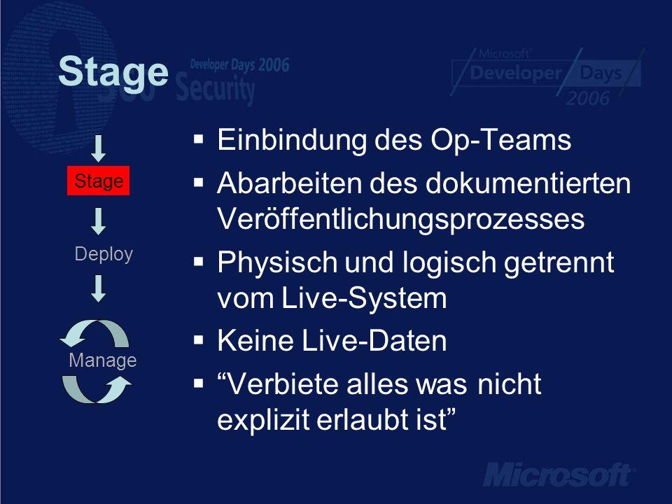 Stage Einbindung des Op-Teams Abarbeiten des dokumentierten Veröffentlichungsprozesses Physisch und logisch getrennt vom Live-System Keine Live-Daten Verbiete alles was nicht explizit erlaubt ist Manage Stage Deploy