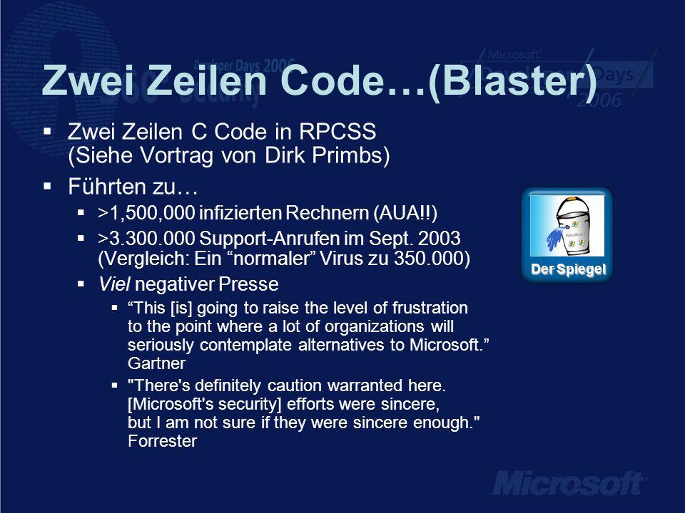 Zwei Zeilen Code…(Blaster) Zwei Zeilen C Code in RPCSS (Siehe Vortrag von Dirk Primbs) Führten zu… >1,500,000 infizierten Rechnern (AUA!!) >3.300.000 Support-Anrufen im Sept.