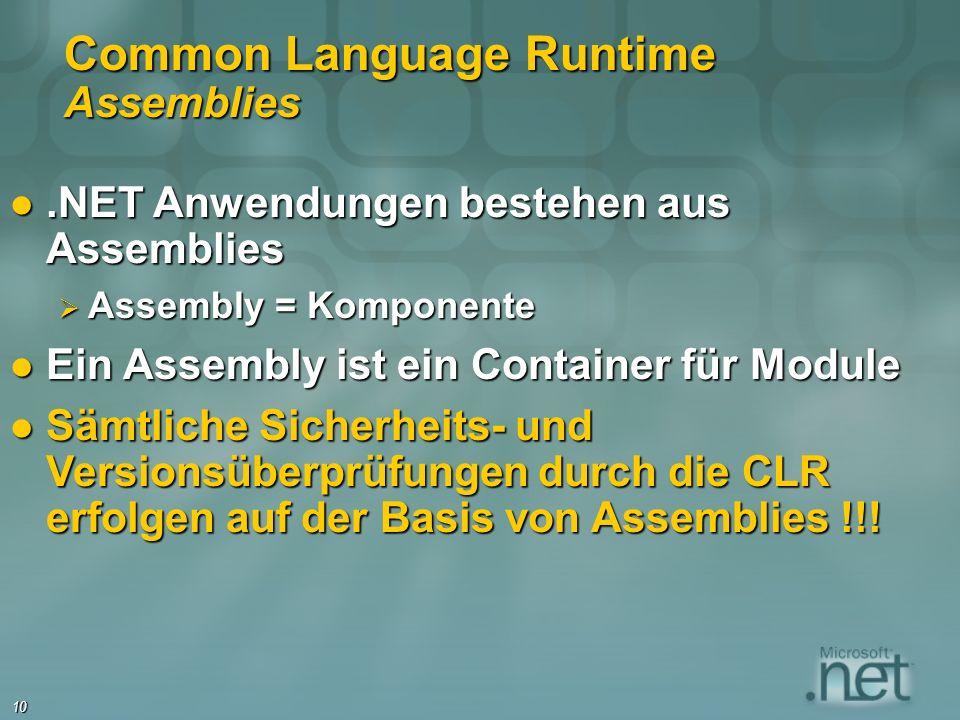 10 Common Language Runtime Assemblies.NET Anwendungen bestehen aus Assemblies.NET Anwendungen bestehen aus Assemblies Assembly = Komponente Assembly = Komponente Ein Assembly ist ein Container für Module Ein Assembly ist ein Container für Module Sämtliche Sicherheits- und Versionsüberprüfungen durch die CLR erfolgen auf der Basis von Assemblies !!.