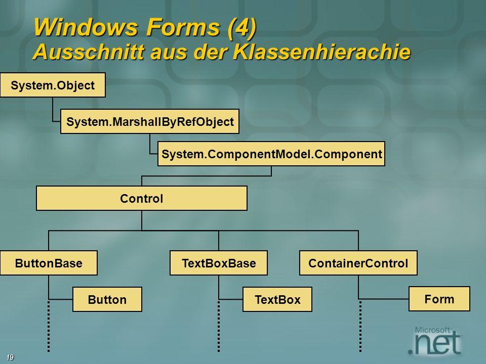 19 Windows Forms (4) Ausschnitt aus der Klassenhierachie System.Object System.MarshallByRefObject System.ComponentModel.Component Control ButtonBase B