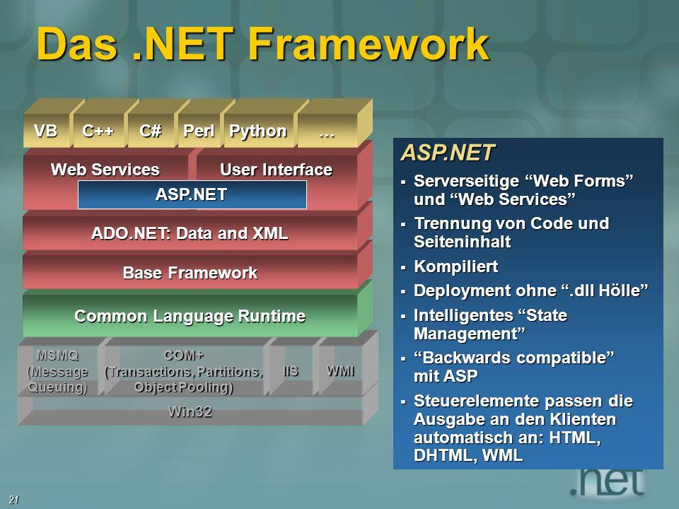 21 ASP.NET Serverseitige Web Forms und Web Services Serverseitige Web Forms und Web Services Trennung von Code und Seiteninhalt Trennung von Code und