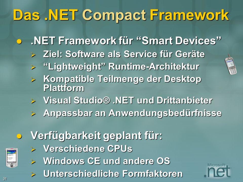 31 Das.NET Compact Framework.NET Framework für Smart Devices.NET Framework für Smart Devices Ziel: Software als Service für Geräte Ziel: Software als Service für Geräte Lightweight Runtime-Architektur Lightweight Runtime-Architektur Kompatible Teilmenge der Desktop Plattform Kompatible Teilmenge der Desktop Plattform Visual Studio®.NET und Drittanbieter Visual Studio®.NET und Drittanbieter Anpassbar an Anwendungsbedürfnisse Anpassbar an Anwendungsbedürfnisse Verfügbarkeit geplant für: Verfügbarkeit geplant für: Verschiedene CPUs Verschiedene CPUs Windows CE und andere OS Windows CE und andere OS Unterschiedliche Formfaktoren Unterschiedliche Formfaktoren