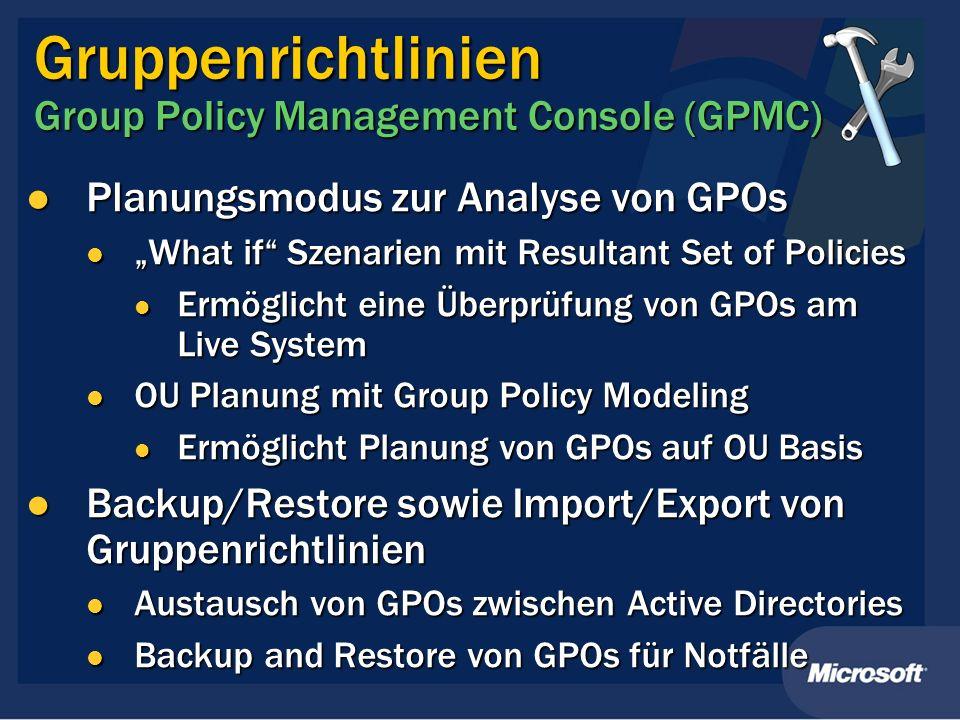 Gruppenrichtlinien Group Policy Management Console (GPMC) Planungsmodus zur Analyse von GPOs Planungsmodus zur Analyse von GPOs What if Szenarien mit