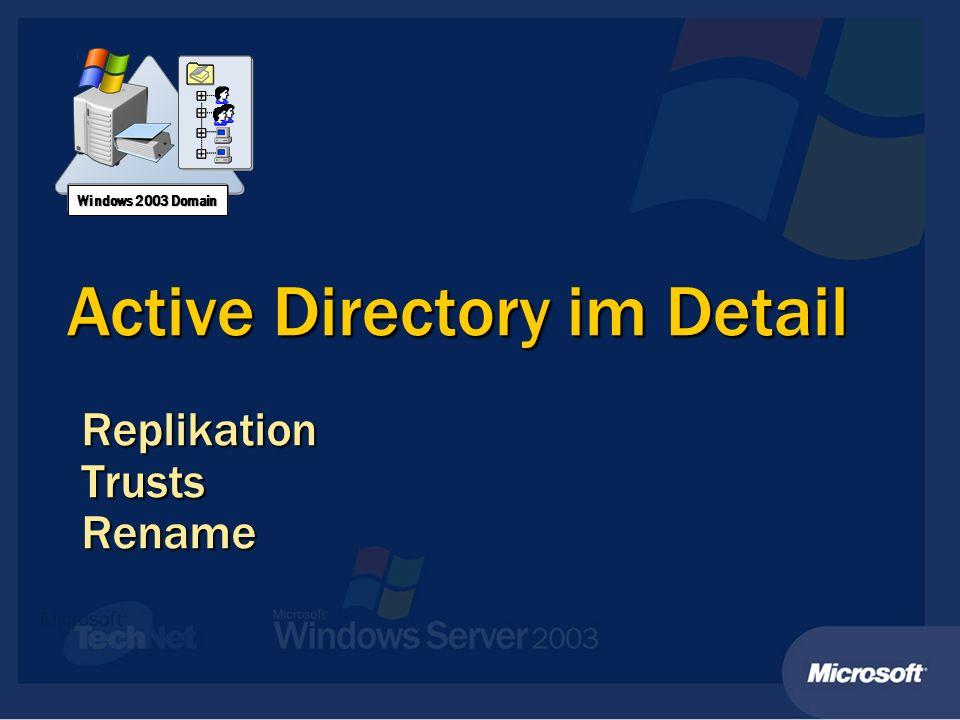 Active Directory im Detail ReplikationTrustsRename Windows 2003 Domain