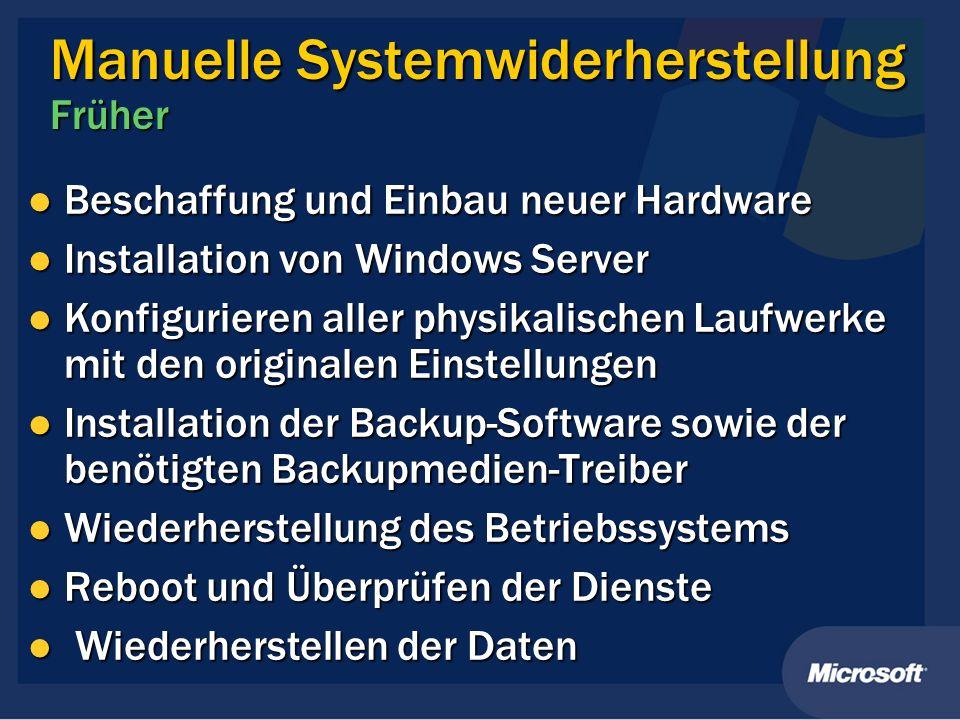 Manuelle Systemwiderherstellung Früher Beschaffung und Einbau neuer Hardware Beschaffung und Einbau neuer Hardware Installation von Windows Server Ins