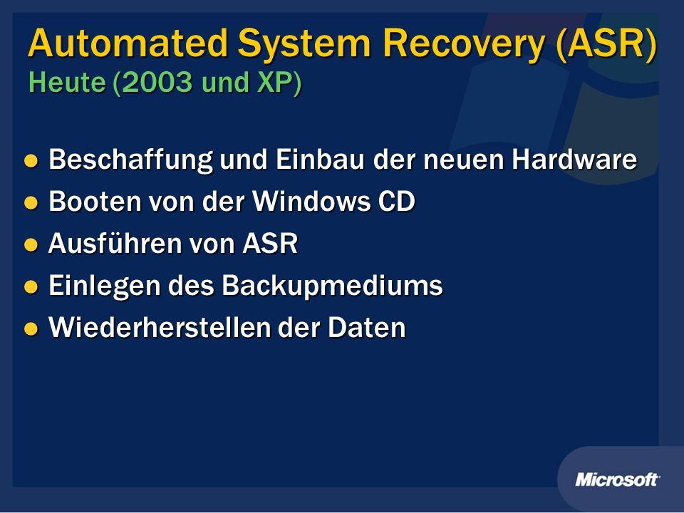 Automated System Recovery (ASR) Heute (2003 und XP) Beschaffung und Einbau der neuen Hardware Beschaffung und Einbau der neuen Hardware Booten von der