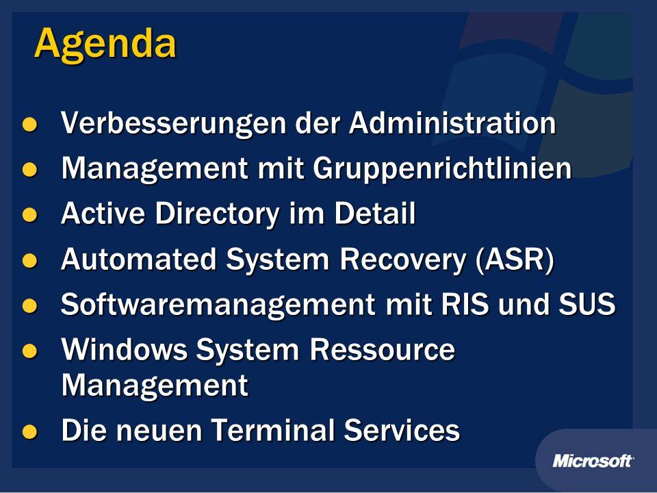 Agenda Verbesserungen der Administration Verbesserungen der Administration Management mit Gruppenrichtlinien Management mit Gruppenrichtlinien Active