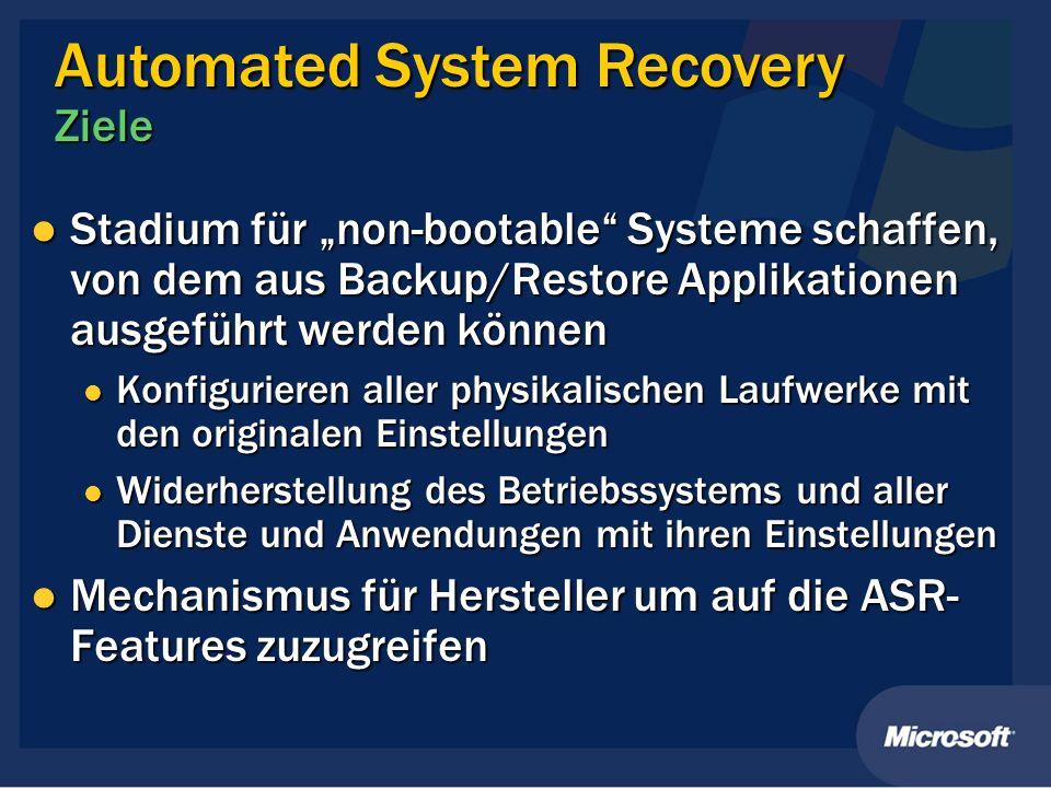 Stadium für non-bootable Systeme schaffen, von dem aus Backup/Restore Applikationen ausgeführt werden können Stadium für non-bootable Systeme schaffen