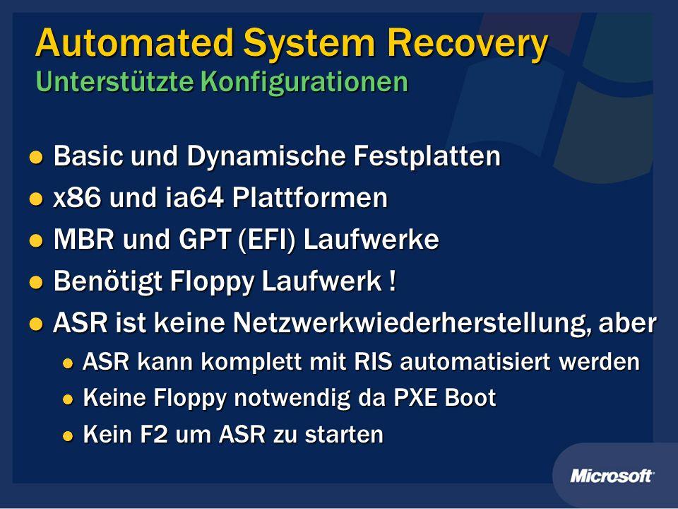 Automated System Recovery Unterstützte Konfigurationen Basic und Dynamische Festplatten Basic und Dynamische Festplatten x86 und ia64 Plattformen x86