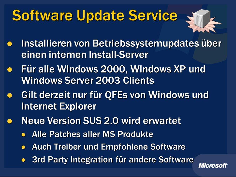 Software Update Service Installieren von Betriebssystemupdates über einen internen Install-Server Installieren von Betriebssystemupdates über einen in