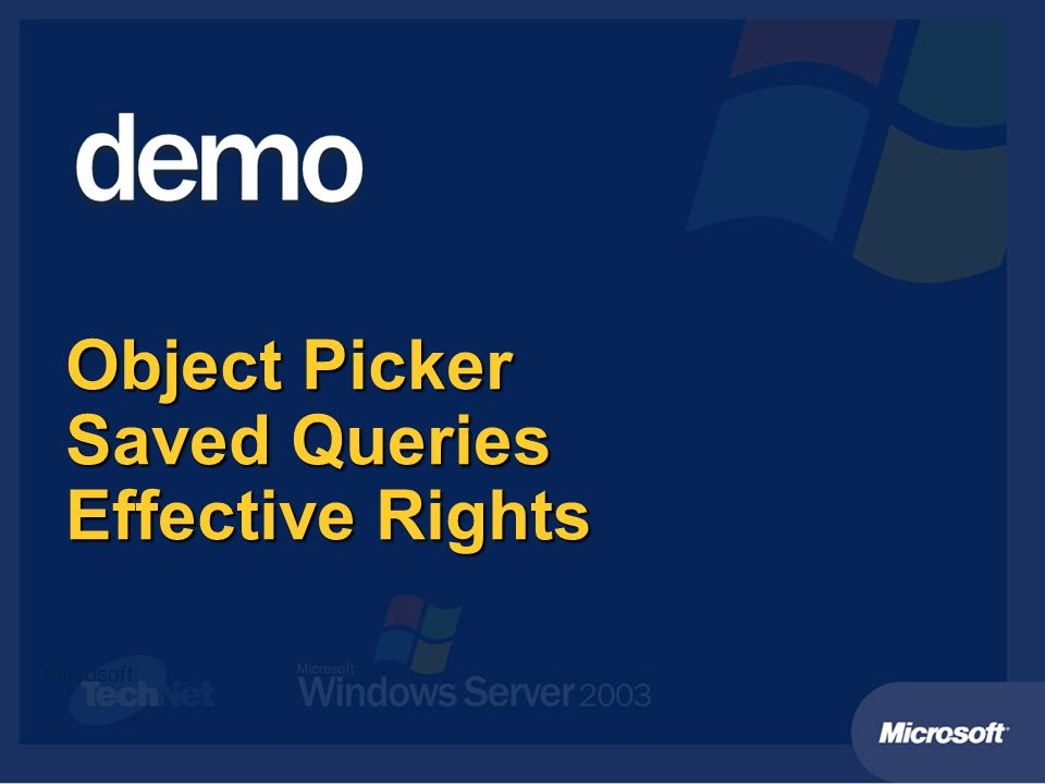 Object Picker Saved Queries Effective Rights