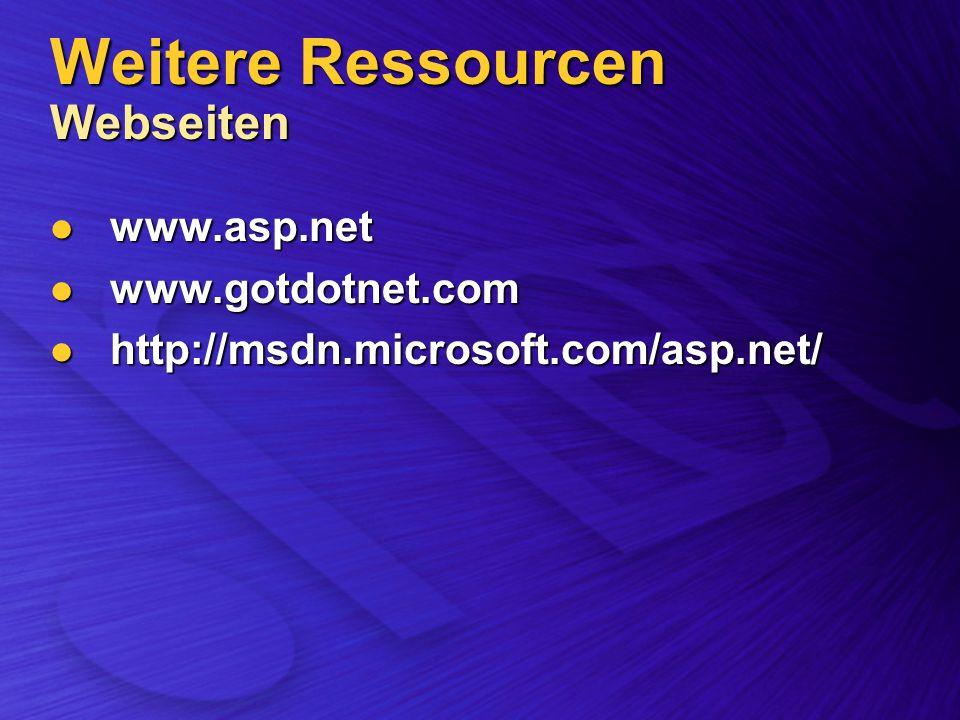 Weitere Ressourcen Webseiten www.asp.net www.asp.net www.gotdotnet.com www.gotdotnet.com http://msdn.microsoft.com/asp.net/ http://msdn.microsoft.com/asp.net/