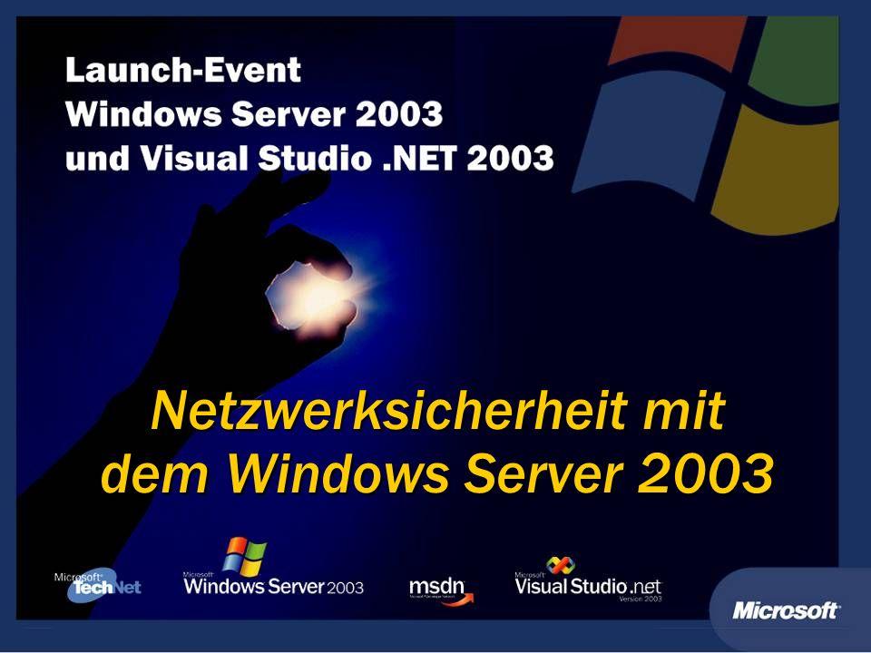 Windows Server 2003 PKI Netzwerksicherheit auf Basis von PKI Szenario Risiko Sicherheitslösung Mobile Benutzer Encrypted File System (EFS) Encrypted File System (EFS) Smartcard Anmeldung Smartcard Anmeldung IPSEC u.
