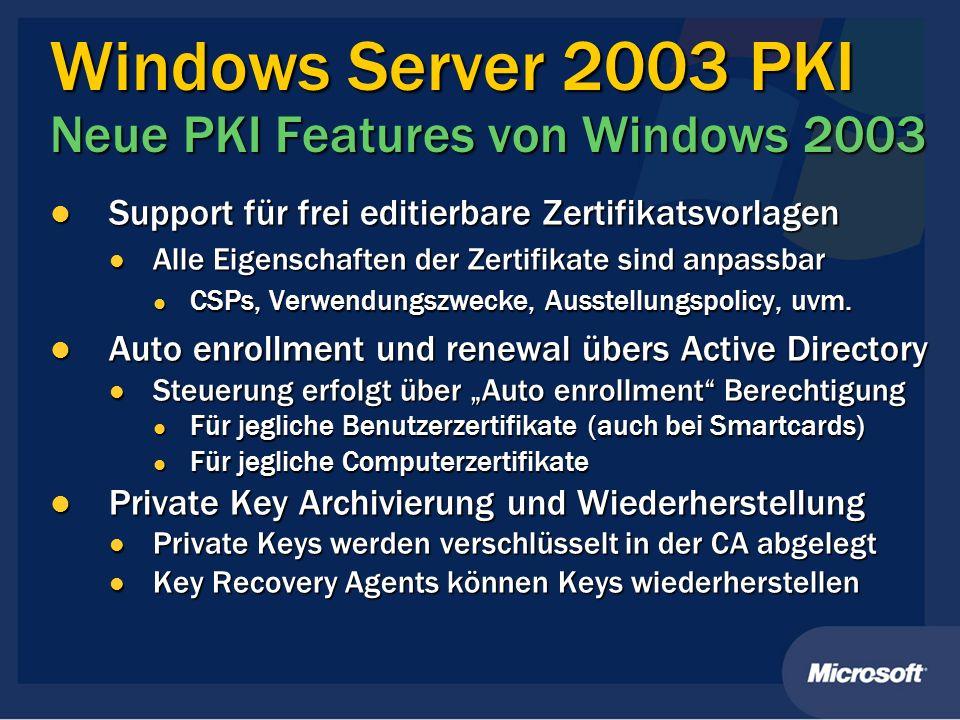 Windows Server 2003 PKI Neue PKI Features von Windows 2003 Support für frei editierbare Zertifikatsvorlagen Support für frei editierbare Zertifikatsvo