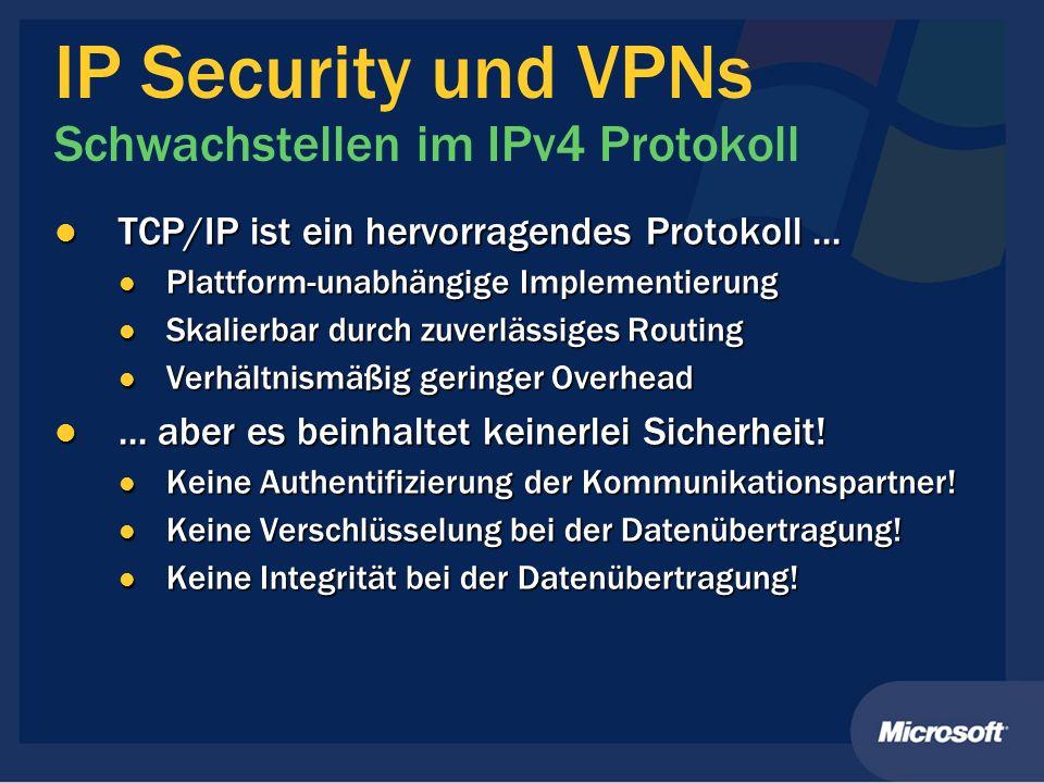 IP Security und VPNs Schwachstellen im IPv4 Protokoll TCP/IP ist ein hervorragendes Protokoll... TCP/IP ist ein hervorragendes Protokoll... Plattform-