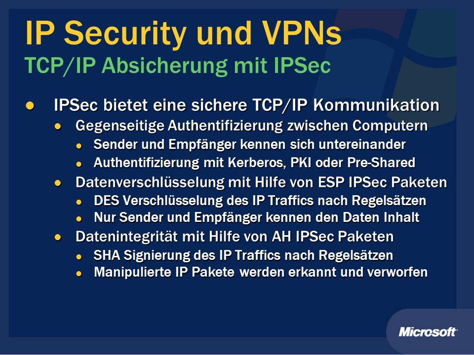 IP Security und VPNs TCP/IP Absicherung mit IPSec IPSec bietet eine sichere TCP/IP Kommunikation IPSec bietet eine sichere TCP/IP Kommunikation Gegens