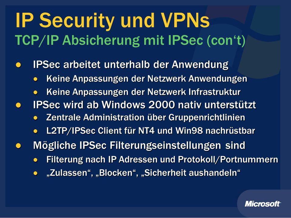 IP Security und VPNs TCP/IP Absicherung mit IPSec (cont) IPSec arbeitet unterhalb der Anwendung IPSec arbeitet unterhalb der Anwendung Keine Anpassung