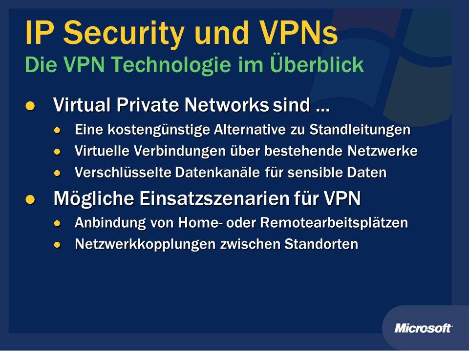 IP Security und VPNs Die VPN Technologie im Überblick Virtual Private Networks sind... Virtual Private Networks sind... Eine kostengünstige Alternativ
