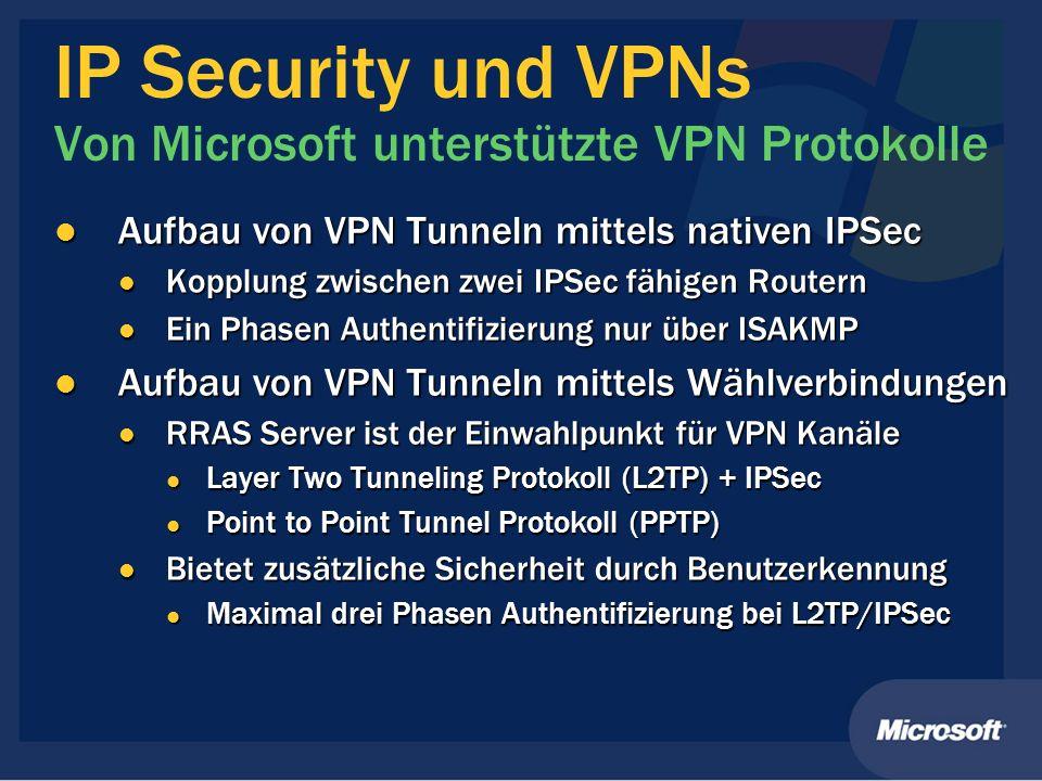 IP Security und VPNs Von Microsoft unterstützte VPN Protokolle Aufbau von VPN Tunneln mittels nativen IPSec Aufbau von VPN Tunneln mittels nativen IPS