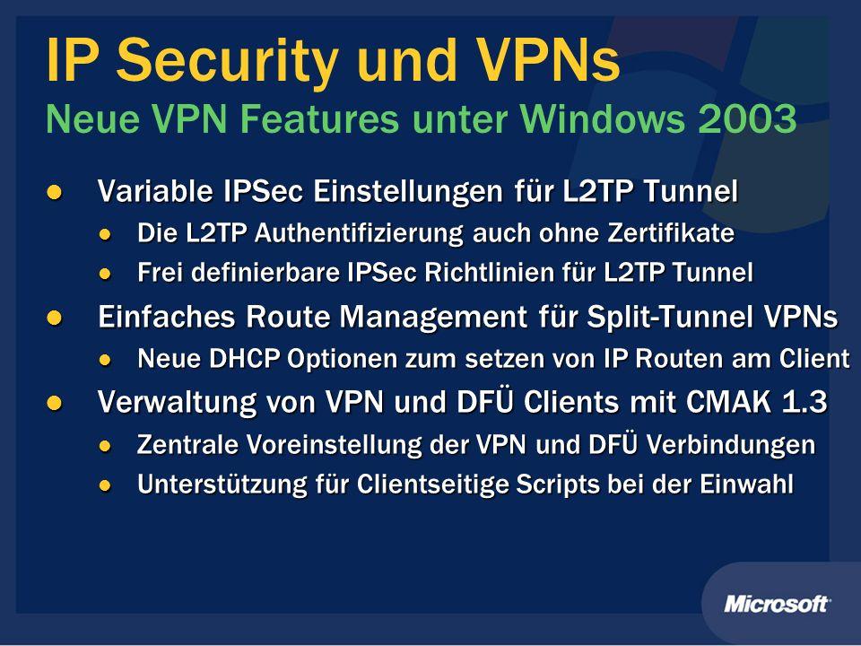 IP Security und VPNs Neue VPN Features unter Windows 2003 Variable IPSec Einstellungen für L2TP Tunnel Variable IPSec Einstellungen für L2TP Tunnel Di