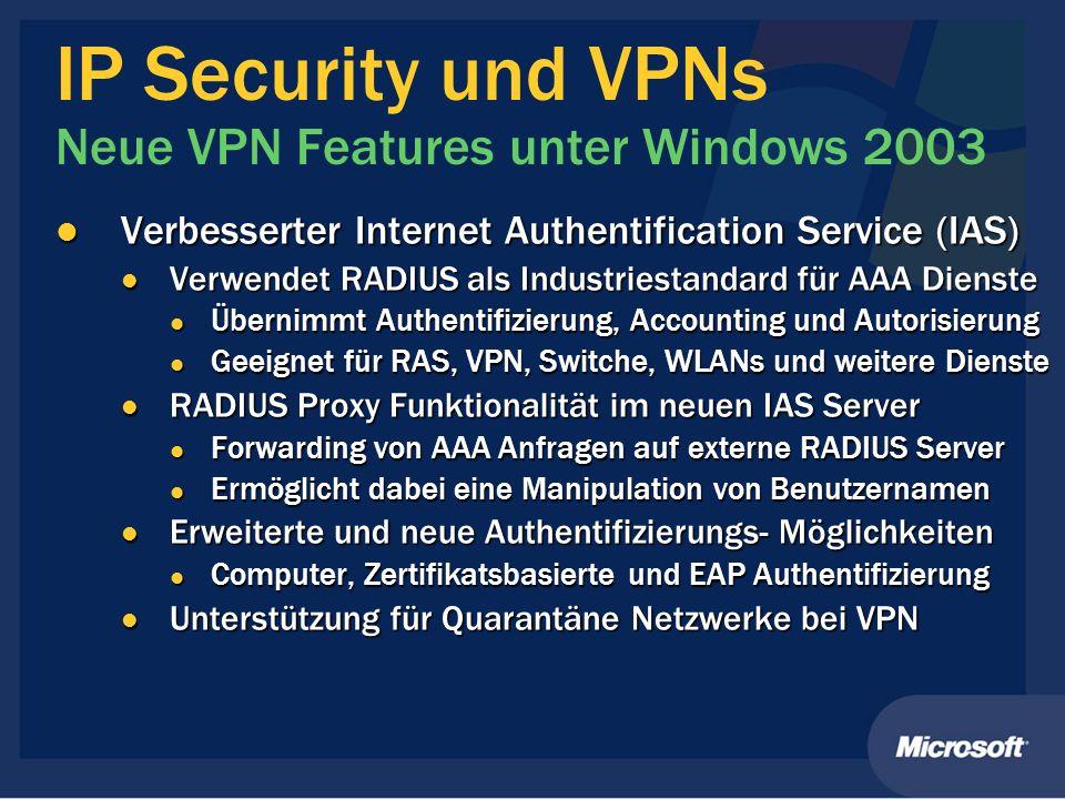 IP Security und VPNs Neue VPN Features unter Windows 2003 Verbesserter Internet Authentification Service (IAS) Verbesserter Internet Authentification