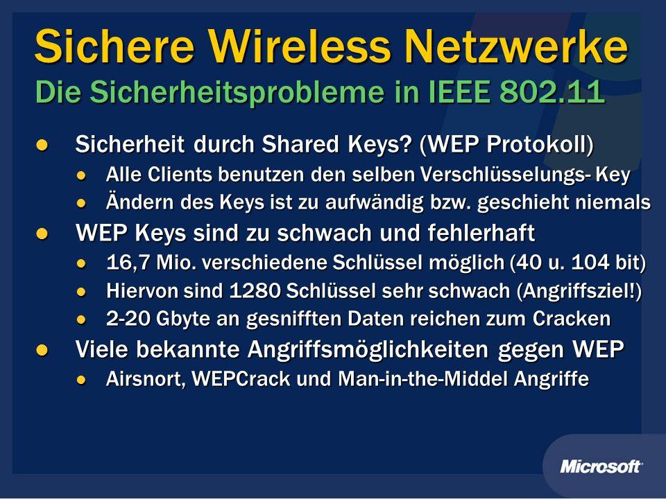 Sichere Wireless Netzwerke Die Sicherheitsprobleme in IEEE 802.11 Sicherheit durch Shared Keys? (WEP Protokoll) Sicherheit durch Shared Keys? (WEP Pro