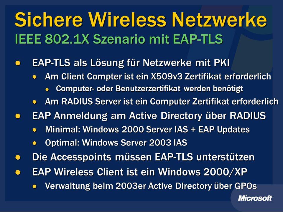 Sichere Wireless Netzwerke IEEE 802.1X Szenario mit EAP-TLS EAP-TLS als Lösung für Netzwerke mit PKI EAP-TLS als Lösung für Netzwerke mit PKI Am Clien
