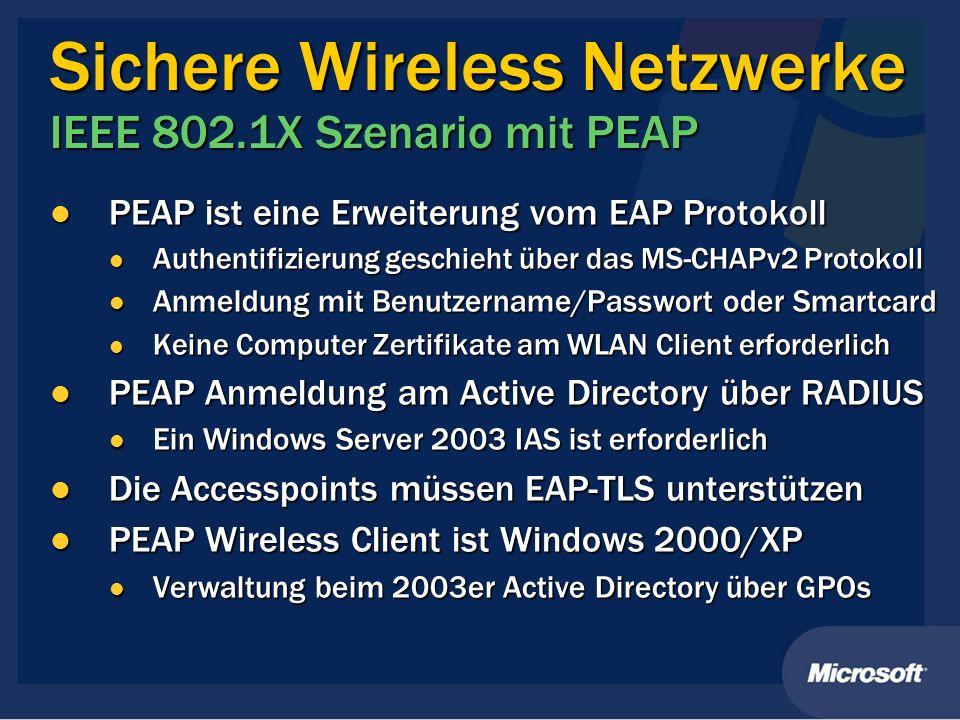 Sichere Wireless Netzwerke IEEE 802.1X Szenario mit PEAP PEAP ist eine Erweiterung vom EAP Protokoll PEAP ist eine Erweiterung vom EAP Protokoll Authe