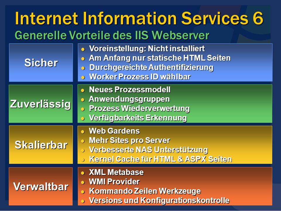 Internet Information Services 6 Generelle Vorteile des IIS Webserver Sicher Voreinstellung: Nicht installiert Voreinstellung: Nicht installiert Am Anf