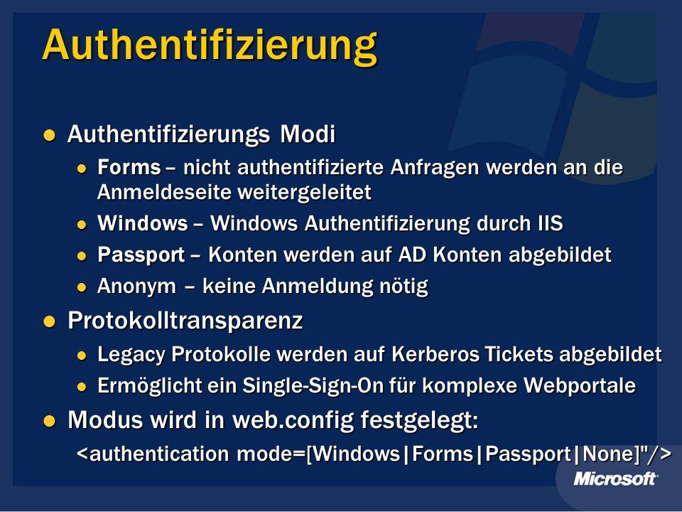 Authentifizierung Authentifizierungs Modi Authentifizierungs Modi Forms – nicht authentifizierte Anfragen werden an die Anmeldeseite weitergeleitet Fo