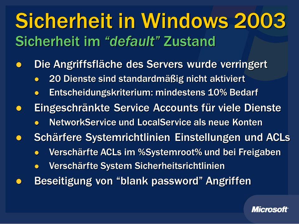 Die Angriffsfläche des Servers wurde verringert Die Angriffsfläche des Servers wurde verringert 20 Dienste sind standardmäßig nicht aktiviert 20 Diens