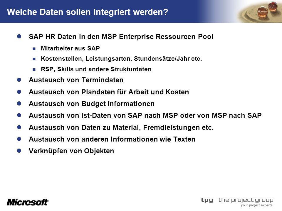 TM Welche Daten sollen integriert werden? SAP HR Daten in den MSP Enterprise Ressourcen Pool Mitarbeiter aus SAP Kostenstellen, Leistungsarten, Stunde