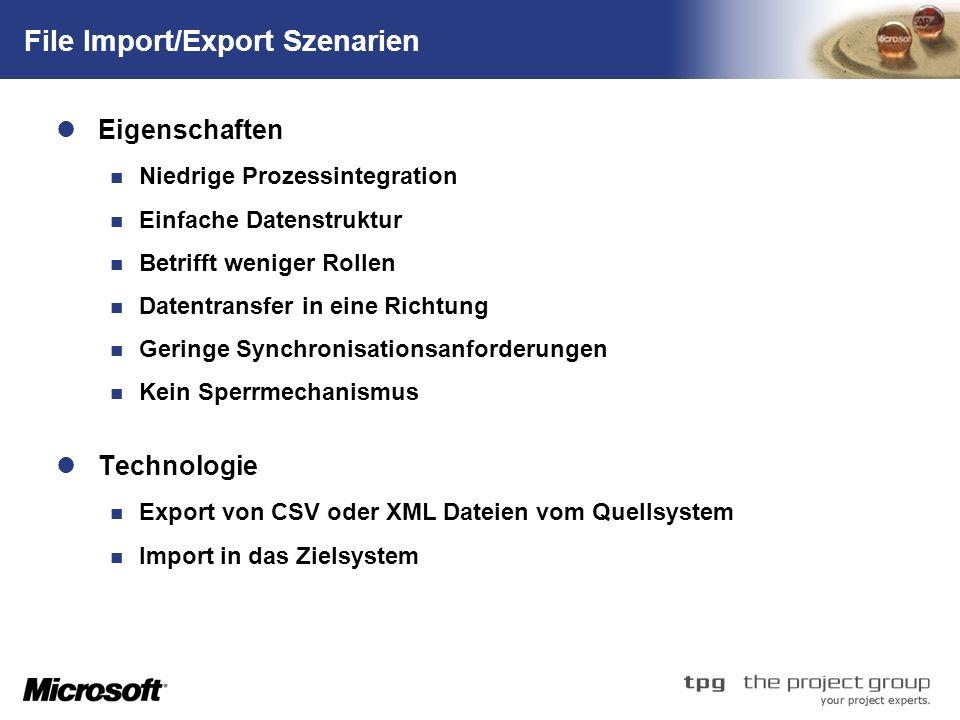 TM File Import/Export Szenarien Eigenschaften Niedrige Prozessintegration Einfache Datenstruktur Betrifft weniger Rollen Datentransfer in eine Richtung Geringe Synchronisationsanforderungen Kein Sperrmechanismus Technologie Export von CSV oder XML Dateien vom Quellsystem Import in das Zielsystem