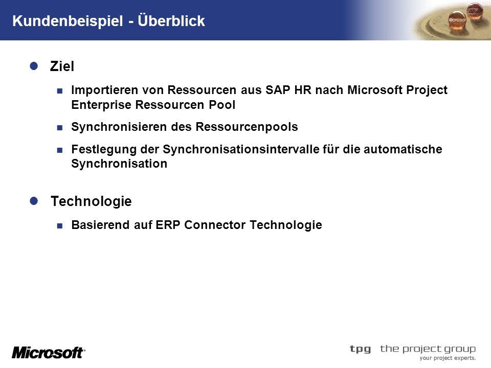 TM Kundenbeispiel - Überblick Ziel Importieren von Ressourcen aus SAP HR nach Microsoft Project Enterprise Ressourcen Pool Synchronisieren des Ressourcenpools Festlegung der Synchronisationsintervalle für die automatische Synchronisation Technologie Basierend auf ERP Connector Technologie