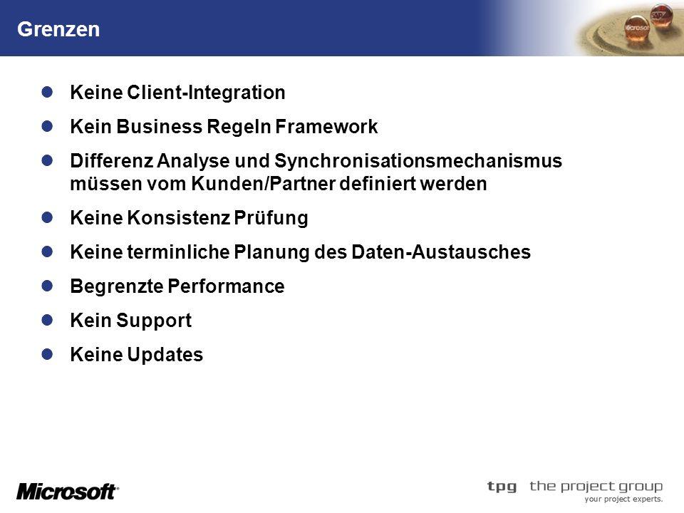 TM Grenzen Keine Client-Integration Kein Business Regeln Framework Differenz Analyse und Synchronisationsmechanismus müssen vom Kunden/Partner definie