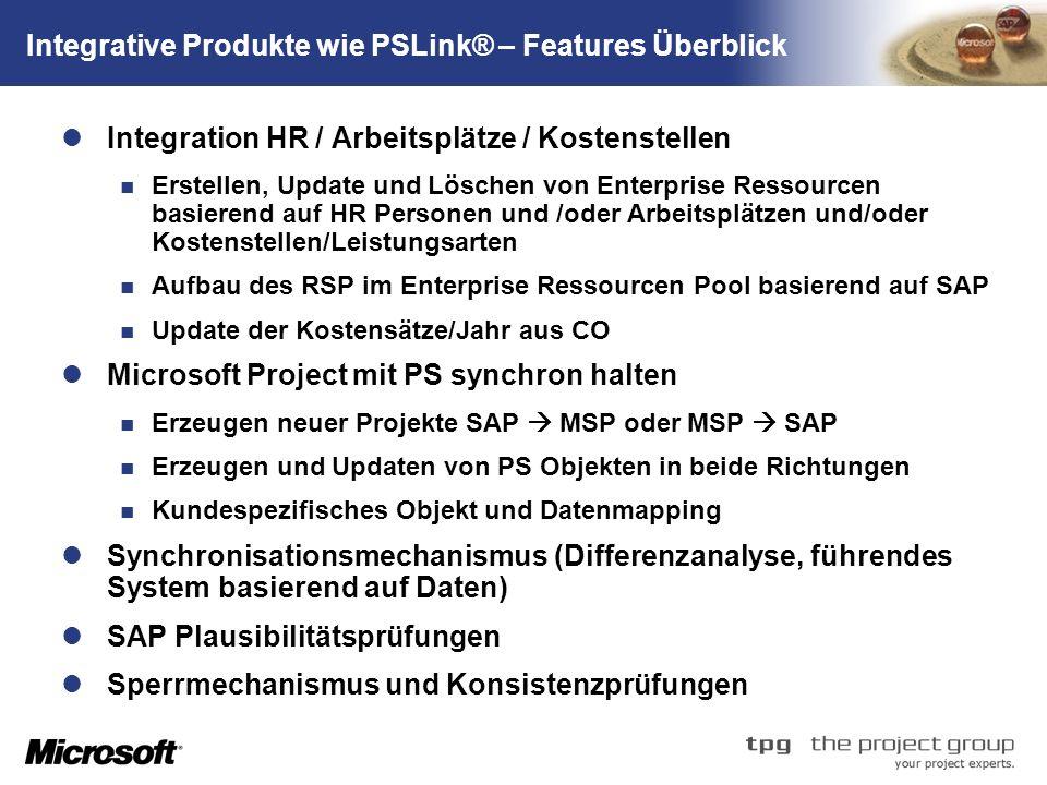 TM Integrative Produkte wie PSLink® – Features Überblick Integration HR / Arbeitsplätze / Kostenstellen Erstellen, Update und Löschen von Enterprise Ressourcen basierend auf HR Personen und /oder Arbeitsplätzen und/oder Kostenstellen/Leistungsarten Aufbau des RSP im Enterprise Ressourcen Pool basierend auf SAP Update der Kostensätze/Jahr aus CO Microsoft Project mit PS synchron halten Erzeugen neuer Projekte SAP MSP oder MSP SAP Erzeugen und Updaten von PS Objekten in beide Richtungen Kundespezifisches Objekt und Datenmapping Synchronisationsmechanismus (Differenzanalyse, führendes System basierend auf Daten) SAP Plausibilitätsprüfungen Sperrmechanismus und Konsistenzprüfungen