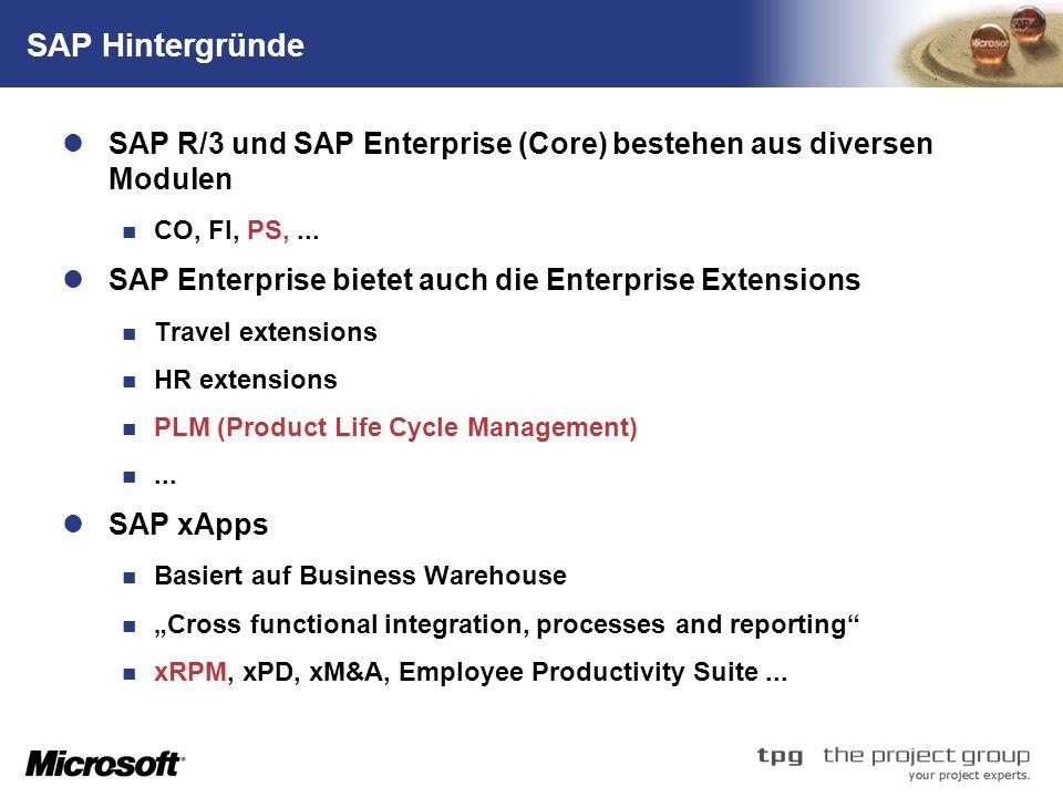 TM SAP Hintergründe SAP R/3 und SAP Enterprise (Core) bestehen aus diversen Modulen CO, FI, PS,... SAP Enterprise bietet auch die Enterprise Extension